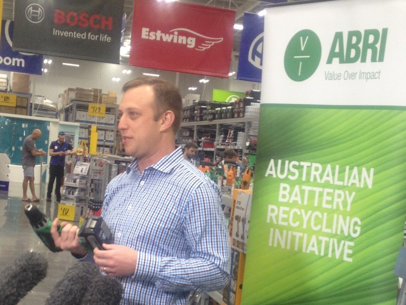 Queensland Minister for the Environment and Heritage Protection Steven Mle launches ABRI's battery collection and recycling program