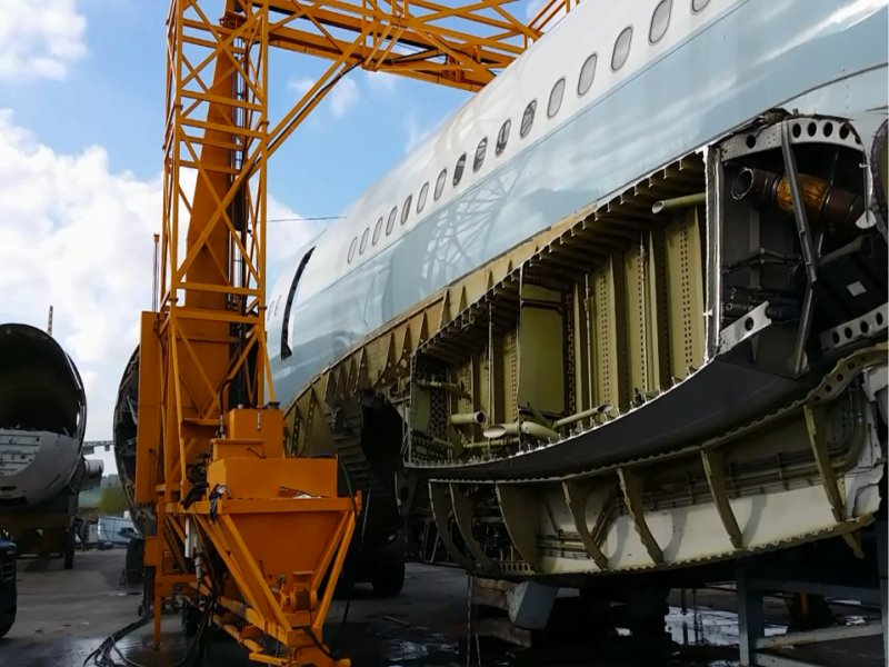 A Cathay Pacific A340 being dismantled for recycling
