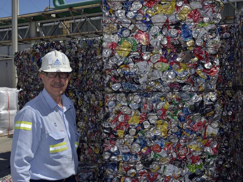 Joe Rea celebrates aluminium can recycling at BSL Gladstone