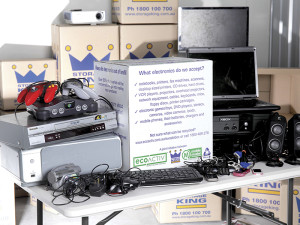 An ECOACTIV promotional display for collecting e-waste run in partnership with MobileMuster and Storage King.