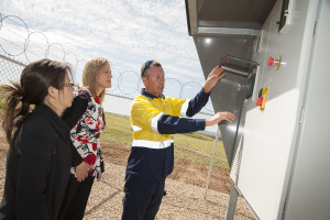 Aidan Marsh (right) demonstrating the programmable flare control panel to (left) Cr Oanh Nguyen and Mayor Angela Evans, City of Charles Sturt.