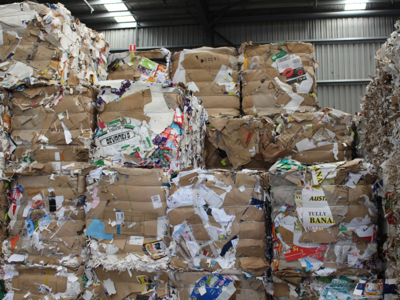 Baled packaging waste