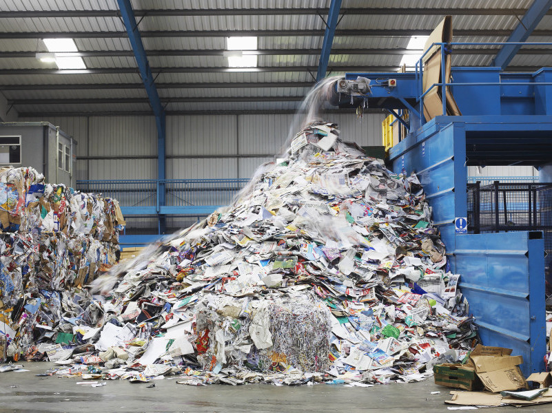 A paper recycling plant