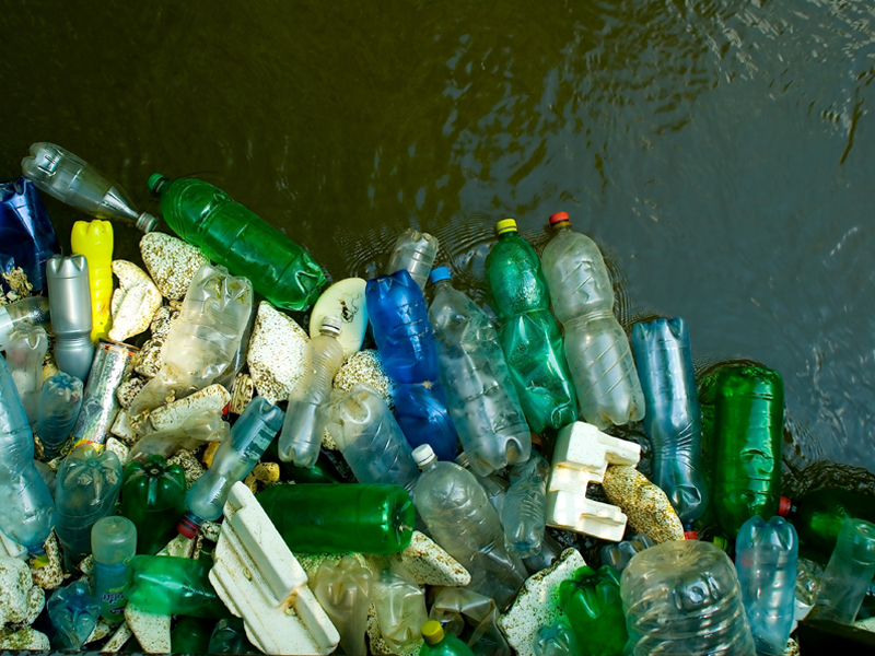 Plastic bottles dumped in waterway