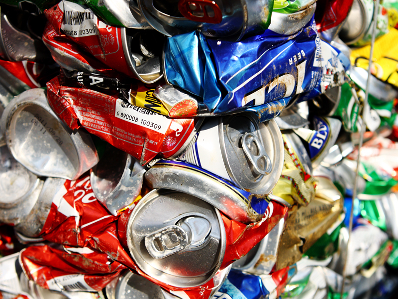 Recycled drinks cans