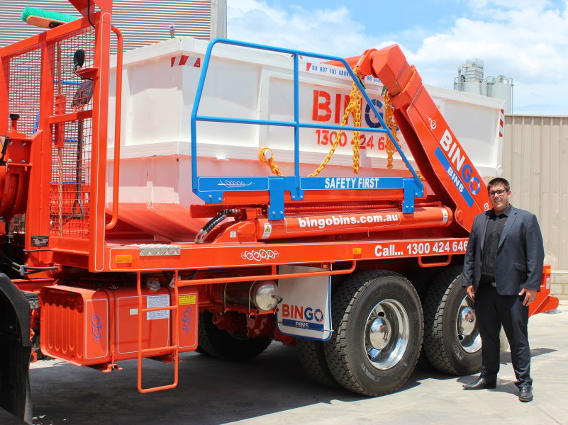 Jamie Reynolds, Group Operations Manager at Bingo Industries, with a West-Trans Equipment vehicle