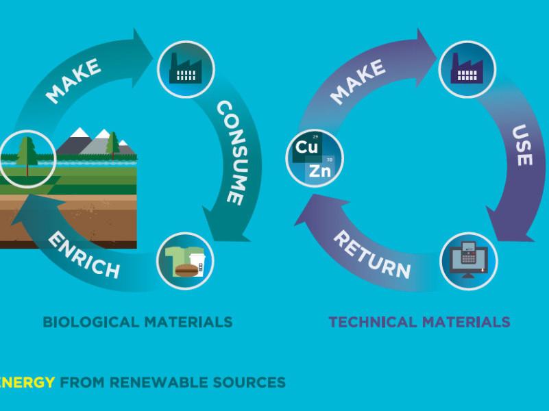 Circular Economy 2 cycles graphic c/o Ellen MacArthur Foundation