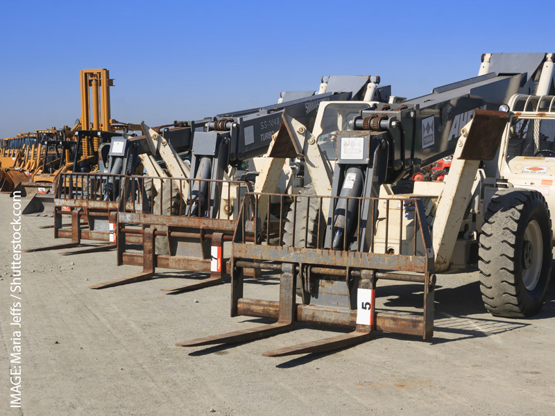 Forklifts and equipment ready for auction