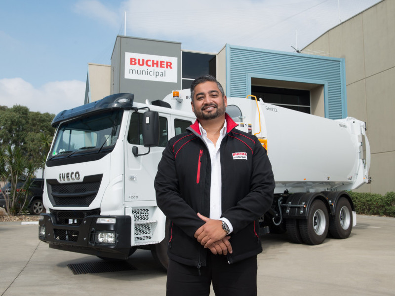 Bucher Municipal Product Manager Marcus Hughes with Iveco Acco Gen Series V II