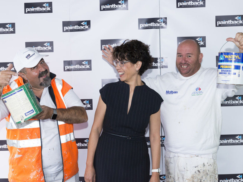 CEO Karen Gomez with two trade painters at the Paintback scheme launch