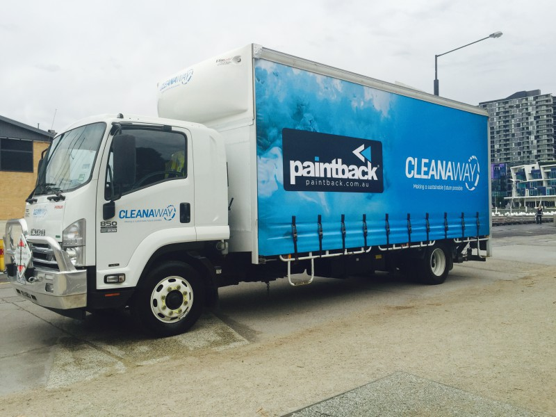 A Cleanaway Paintback collection truck
