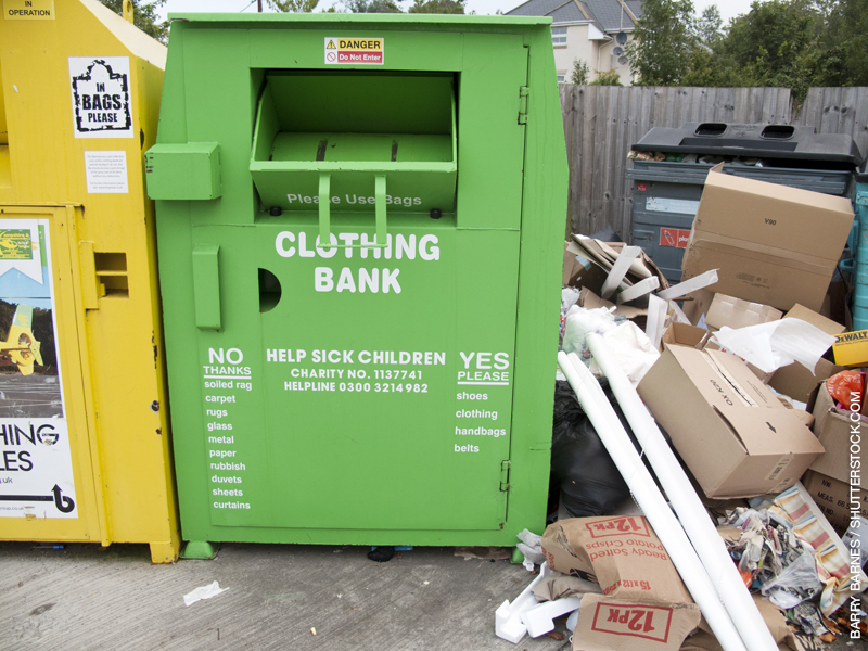Dumping of items at charity recycling bins