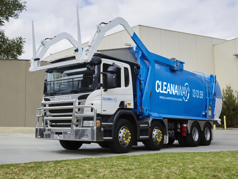 A Cleanaway branded front lift truck