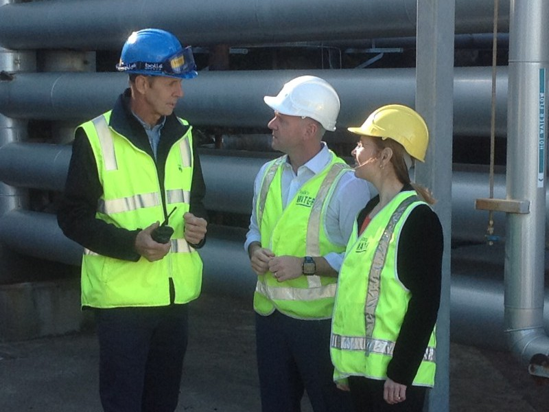 Sydney Water Bondi Wastewater Treatment Plant Manager Tony Williamson with Ministers Blair and Upton inspecting the Plant.