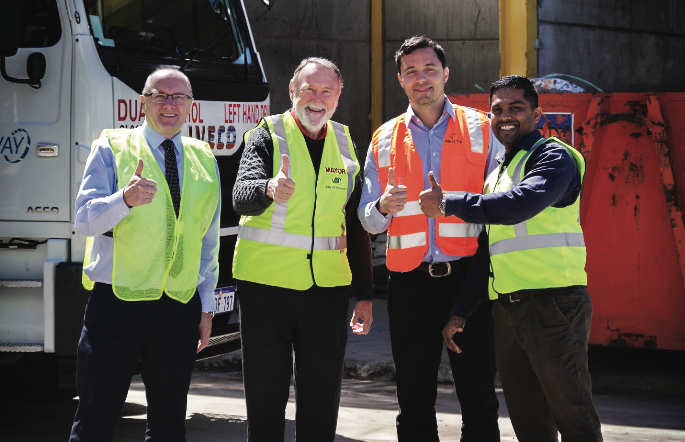 The team behind the City of Nedland's ambitious waste reduction strategy (L-R): Paul Tomkinson, Metro Regional Manager at Cleanaway Perth; Max Hipkins, Mayor, City of Nedlands; Stefan Todoroski, Managing Director at West Tip Control; Chaminda Mendis, City of Nedlands'  Waste Minimisation Coordinator.